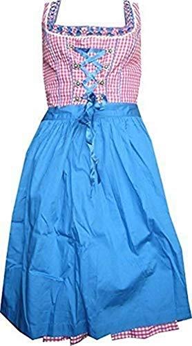 Lekra Country Life Vestido Dirndl Irmi 55cm en Rojo de Cuadros - Rojo, 34