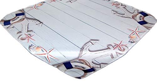 Tischdecke Maritim Decke Zierdecke 85x85 cm pflegeleicht Tischdeko Nautik Gartendecke (85x85 cm)