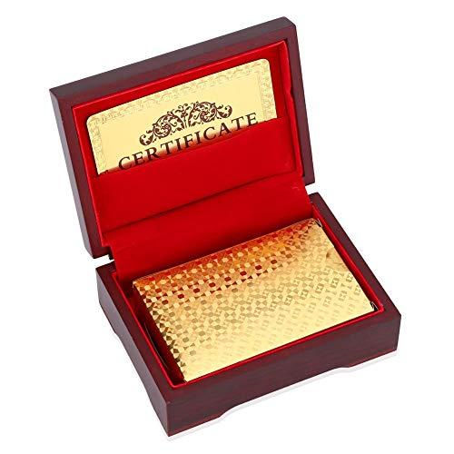 Cartas de póker, Naipes con lujosas Tarjetas de póquer Doradas Falsas Impermeables Póquer con Cajas de Almacenamiento de Madera para Tarjetas de Regalo de Magic Party(2)