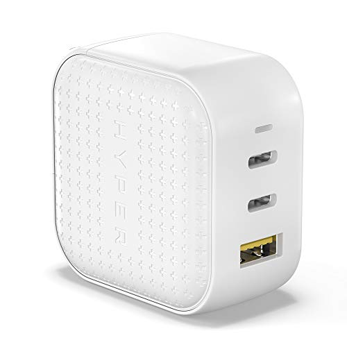 GaN 66W USB C Charger, HyperJuice 3-Ports USB-C Power Adapter with PD3.0 QC3.0 Foldable Plug 65W Type-C Charger for Laptop, Smartphone, iPhone 11 12 Mini Pro Max XR, iPad Pro, MacBook Pro Air, White