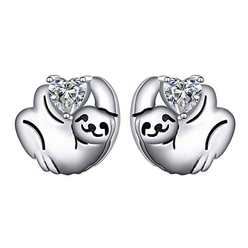 925 Sterling Silver Heart Cz Cute Animal Sloth Stud Earrings Birthday Gift for Women Teen Girls