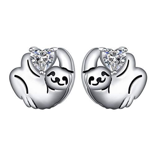 925 Sterling Silver Heart Cz Cute Animal Sloth Stud Earrings Birthday Gift for Women Teen Girls