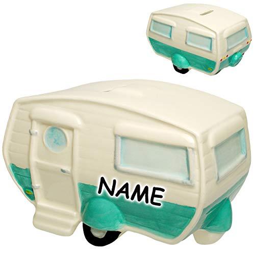 alles-meine.de GmbH große XL - Spardose - Wohnwagen / Wohnanhänger - Camper - inkl. Name - aus Porzellan / Keramik - mit Verschluss - Sparschwein - Camping Hobby - stabile Sparbü..