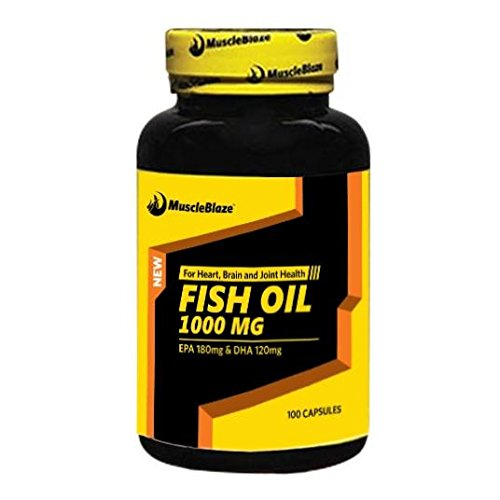 MuscleBlaze Omega 3 Fish Oil 1000 mg (180mg EPA and 120mg DHA) – 90 capsules