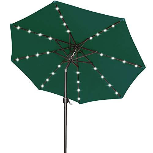9FT Patio Umbrella Ourdoor Solar Umbrella LED Umbrellas with 32LED Lights, Tilt and Crank Table Umbrellas for Garden, Deck, Backyard and Pool,12+Colors,(Forest Green)