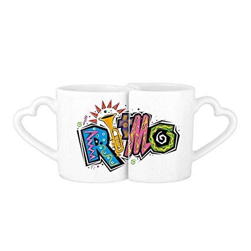 DIYthinker Mexico Cultuur Elment Veel Kleuren Ritmo Slogan Lovers' Mok Lover Mokken Set Wit Aardewerk Keramische Cup Cadeau Melk Koffie Cup Met Handvatten
