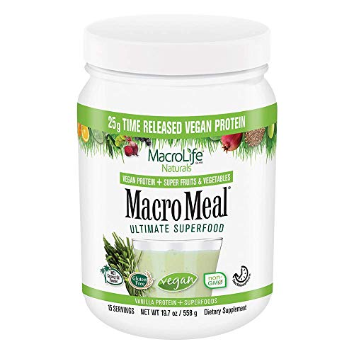 MacroLife Naturals MacroMeal Vegan Superfood Powder Time-Released Protein Blend, Greens, Digestive Enzymes, Fiber, MCTs - Energy - Non-GMO, Gluten-Free, rSBT-Free - Vanilla - 19.7oz (15 Servings)