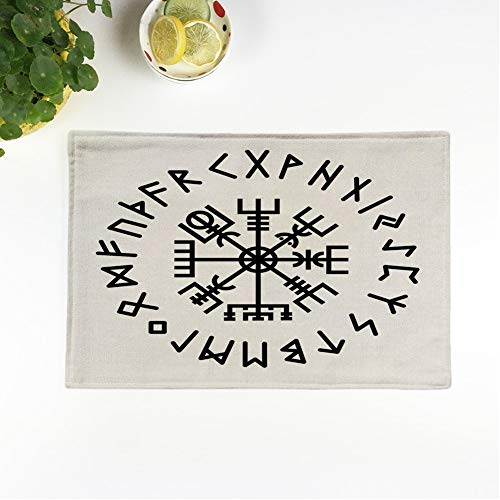 rouihot Set of 4 Placemats Norse Vegvisir Rune Abstract Algiz Amulet Celtics Collection Creative Non-Slip Doily Place Mat for Dining Kitchen Table