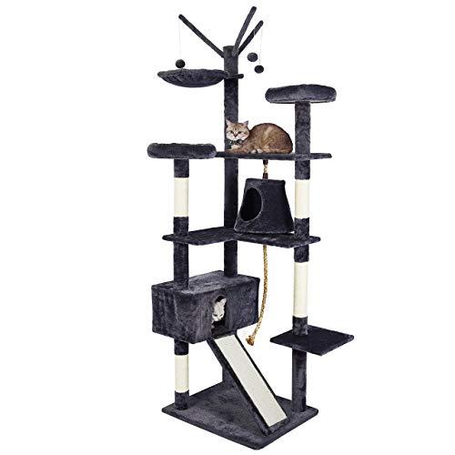 Meerveil Kratzbaum für Große Katzen XXL, 210 cm Stabiler Kratzbaum, mit Verbreiterter und Verdickter Bodenplatte, Hochwertiger Sisal und 2 Häuschen, Grau