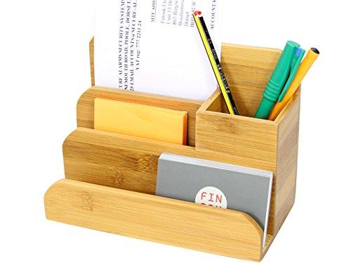 Klein Tischorganizer Schreibtisch Box Stiftköcher Becher, Stifthalter, Visitenkartenhalter, Notizhalter aus Bambus