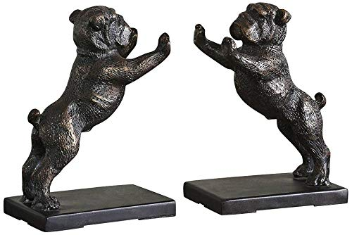 Uttermost 19643 Bulldogs Cast Iron Bookends (Set of 2), Rustic
