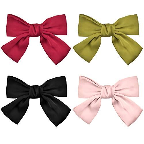 jinlaili Große Bowknot Haarspangen, 4 stk Große Haarschleifen Clip, Satinband Bogen Haarspangen, Haarschmuck Schleifen für Frauen Haarspange, Rot, Schwarz, Pink, Gelbgrün, 20 cm