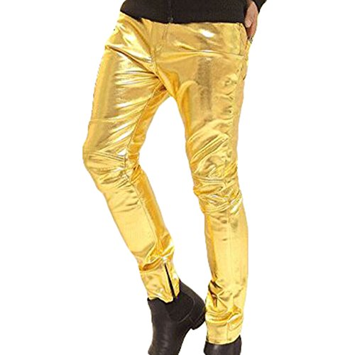 Herren Lederhosen Lang Hose Wetlook Clubwear Motorradhose Slim Fit Freizeithose Faux Leder Biker Hose Gold 3XL Kootk