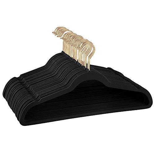 ManGotree Adult Velvet Hangers Coat&Suite Hangers No-Slip Hangers Ultra-Slim Space Saving Hangers Sturdy&Durable Clothes Hangers 360 Swivel Golden-Plated Hook 36 Pack Black