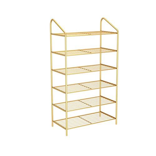 Zapatero Soporte de zapata de zapatos de 6 niveles o organizador de almacenamiento de nivel de pie para sala de estar, guardarropa y pasillo, 50x26x92cm Organizador para Zapatos ( Color : Gold )