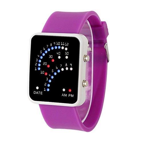 LCLrute - Reloj de pulsera de silicona, unisex, con luces LED, estilo futurista y multicolor., morado