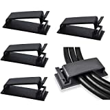 50-Pcs Self Adhesive Cable Management Clips, SOULWIT Cable Organizers Wire Clips Cord Holder for TV PC Laptop Ethernet Cable Desktop Home Office (Black)