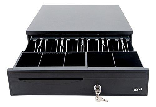 iggual - Iron-30 | Cajon Portamonedas RJ11 Negro con 5 Compartimentos de Billetes y 5 Compartimentos de Monedas