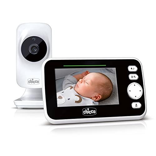 Chicco Deluxe Video Baby Monitor, Vigilabebés con Cámara y Pantalla a Color LCD de 4.3', Alcance de 200 m, Visión Nocturna, Termómetro, Melodías, Ruido Blanco y Batería de Larga Duración