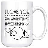 Ideas para el día de la madre Te amo hasta la luna y de regreso del estado de Washington al estado de Virginia Occidental Tazas de café para madre e hija Tazas divertidas Taza de café de cerámica blan
