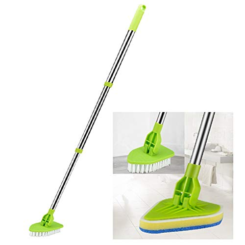 """Global-Store Floor Scrub Brush with Long Handle 35"""", Adjustable Stainless Metal Handle Bathtub Cleaner Tool, Scrubber with 1 Stiff Bristles & 3 Sponge Brush for Cleaning Tile Shower Bathroom Tub"""