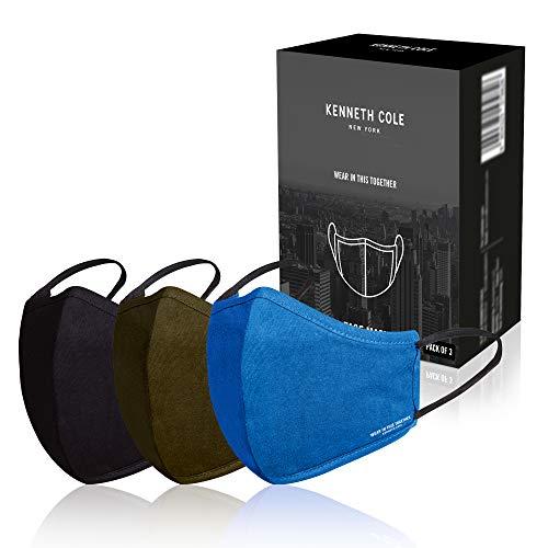 Kenneth Cole Baumwollgesichtsmasken: Smart Tech-Schutz mit Staubschutz, Verschmutzungsfilter - Wiederverwendbare Außenabdeckungen für den Außenbereich, Mehrfarbig - 3er-Pack