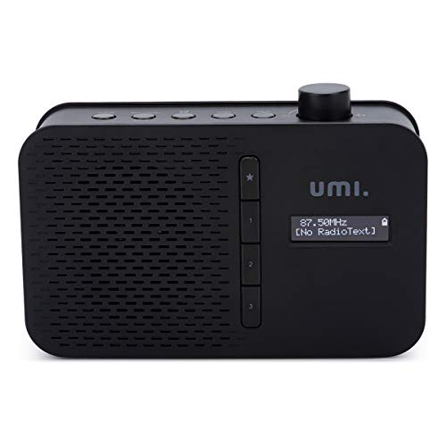 Umi. by Amazon DAB + FM Digitalradio Tragbares Radio mit Bluetooth, LCD-Display, Weckzeiten, Sleeptimer, Snooze-Funktion, 5V Gleichstromausgang und 4xAA Batterien