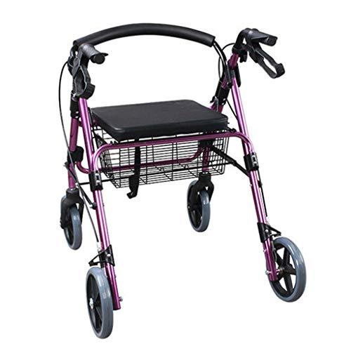 LHQ-HQ Ligera Walker Comprar Carro de la comi, Andador Plegable de Aluminio Cesta de la Compra, con el Hospital Viejo de Cuatro Ruedas de la Carretilla Andador Antideslizante Bastón