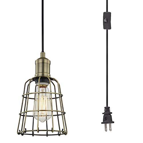 WOXXX Industrial Pendant Light Plug in Hanging Light Fixture Ceiling Light...