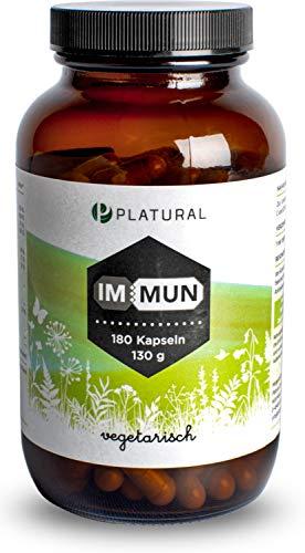 Platural® Immun - Vitamin C Zink Selen Magnesium Vitamin D E B6 + Holunder Acerola Acai - Immunsystem stärken * - 180 Premium Kapseln laborgeprüft - hochdosiert, in Deutschland hergestellt