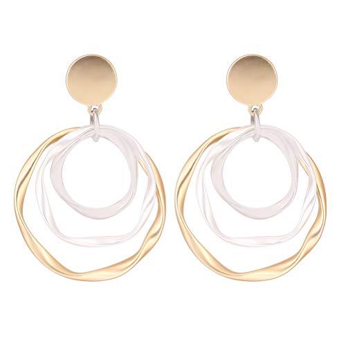JIFNCR Runde Ohrringe, Ohrhänger, Kristall-Ohrringe für Frauen, Ohrring mit mehrschichtigem Anhänger, Ohrschmuck, Festival, Geschenk, Party, Dekoration
