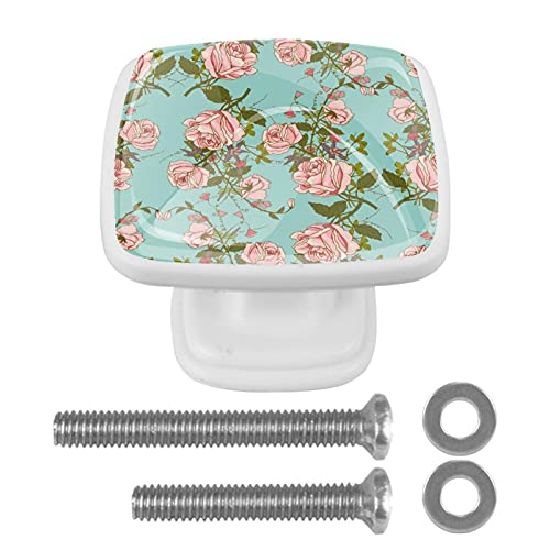 Pomos de gabinete con diseño de rosas vintage, 4 unidades, pomos para cajón, pomos de cristal y cajones con tornillos para cocina, aparador, armario, baño, armario