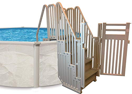 Confer Plastics Entry System for Above Ground Pools- Warm Gray Frame, Gray Steps