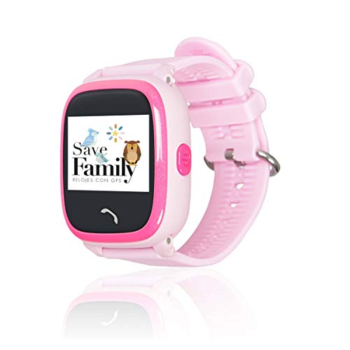 Reloj con GPS para niños SaveFamily Infantil Completo Acuático IP67. Smartwatch con Botón SOS, Anti-Bullying, Chat Privado, Modo Colegio, Llamadas y Mensajes. App SaveFamily. Incluye Cargador. Rosa.