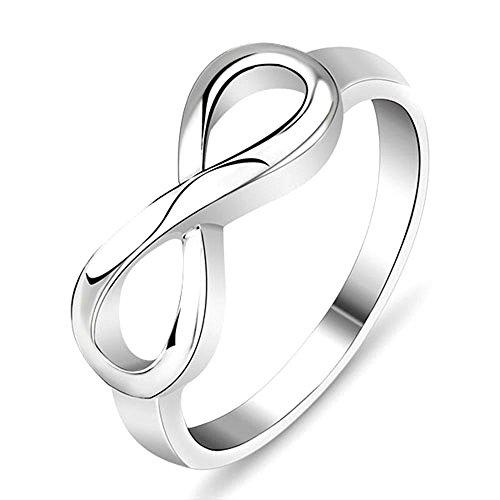 Plata ley 925–Anillo mujer infinito joyas TAMAÑO