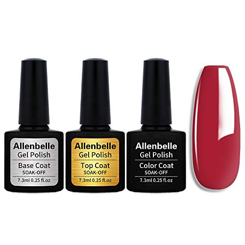 New Allenbelle (Base & Top Coat + one colore) Smalto Semipermanente Nail Polish UV LED Gel Unghie Base Coat&Top Coat (Kit di 3 pcs 7.3ML/pc) (1337)
