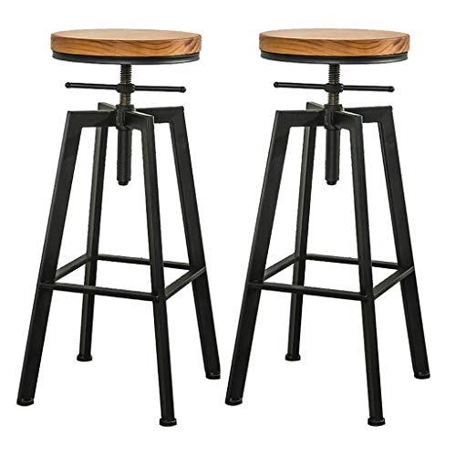 Barkruk, hoogte bar, barkruk, verstelbaar, draaibaar, van metaal, zwart, modern design, voor bistro, pub, keuken, café, rond, zitting, maat: 2 krukken