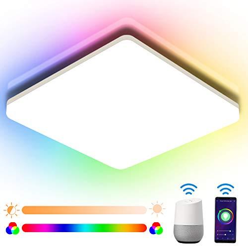 Oeegoo Smart LED Deckenleuchte Dimmbar 15W, Bluetooth Deckenlampe RGB Farbwechsel, IP54 WIFI LED Deckenleuchte Alexa und Google Kompatibel, APP/Sprachsteuerung für Kinderzimmer, 22 * 22 * 4.8