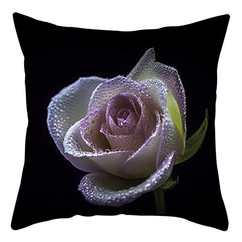 KnBoB Funda Almohada Poliéster Rosa con Rocío 50 x 50 cm Blanco Negro Estilo 33