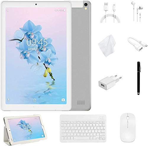 YESTEL Tablet 10 Pollici con wifi offerte Android 8.1 Tablet PC con 3GB RAM & 32GB ROM e LTE Dual SIM Call, 5.0 MP + 8.0 MP HD Camera e 8000mAH (Sblocco Facciale,Supporta Netflix) -Argento