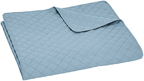 Amazon Basics – Colcha labrada extragrande, Azul spa, diamante, 240 x 260 cm