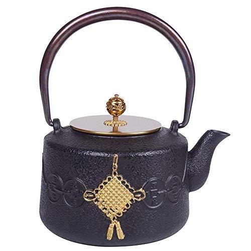 Tetera Tetera de hierro, japonés antiguo Tetera de hierro fundido, hierro fundido duradero Y Tetera cálido, nudo chino del diseño del modelo, 1200 ml for su padre Tetera Retro