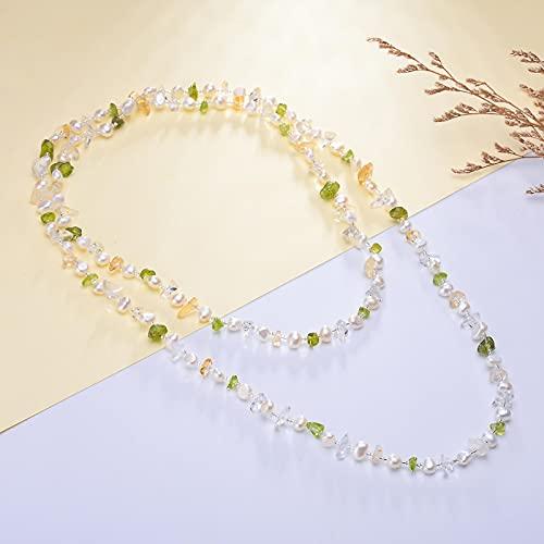 yuge Perla de agua dulce natural fina blanco/rosa collar verde