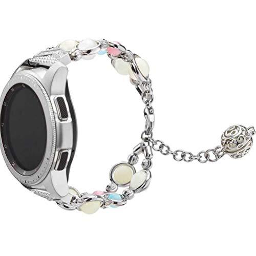 NICERIO Pulseira de relógio compatível com Samsung Galaxy – Pulseira de relógio de 42 mm ágate Jewelry, pulseira de reposição para relógio inteligente, Prata, 2*13cm