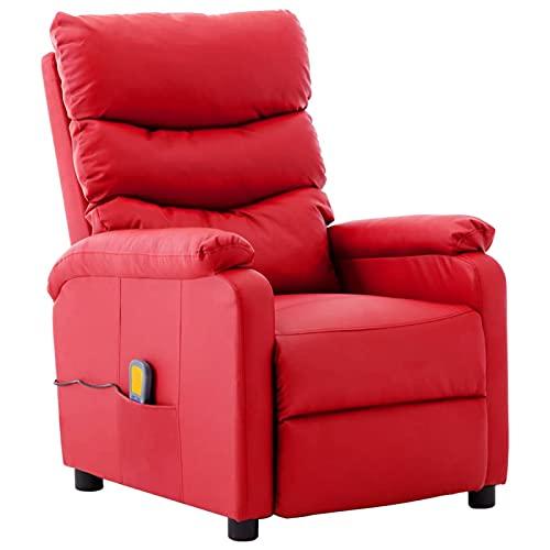Festnjght Sillón Masaje Tela Relax Calor Rojo con Reposapiés Reclinable Masaje 6 Zonas y Acabado en PU Anti-Cuarteo [Incluye Mando]