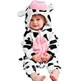 MICHLEY Unisex Baby Boy Girl Hooded Romper Winter Animal Cosplay Jumpsuit Pajamas, Cow, 19-24months, Size 100