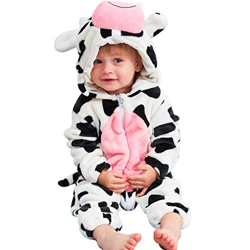 MICHLEY Unisex Baby Boy Girl Hooded Romper Winter Animal Cosplay Jumpsuit Pajamas, Cow, 13-18months, Size 90
