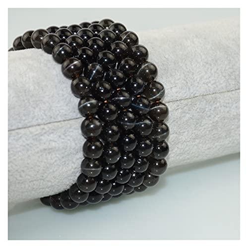 Delawen Gemstone Brillante Calidad Natural Cat'S Eye Flash Scapolite Beads Redondo Pulseras 7-7.2mm (Color : 7mm)