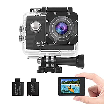 Jadfezy Action Camera 1080P Waterproof Camera Underwater 40M with EIS Two 900mAh Rechargeable Batteries 140 Degree Wide Angle and Accessories Kit by Jadfezy