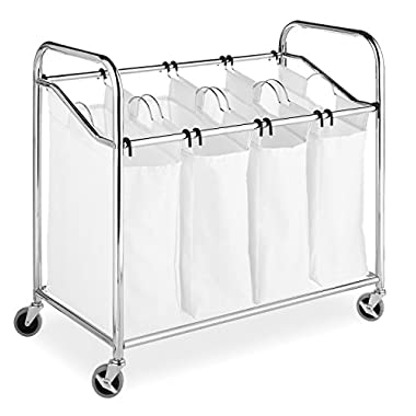 Whitmor 4 Section Rolling Laundry Sorter - 4 Removable Heavy Duty Bags - Chrome